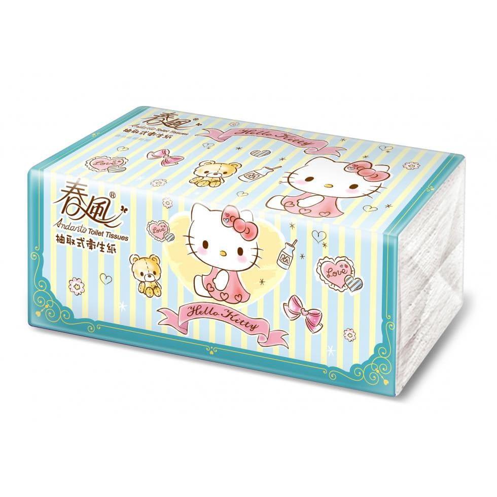 【春風】kitty湖水綠抽取式衛生紙100抽x40包 2