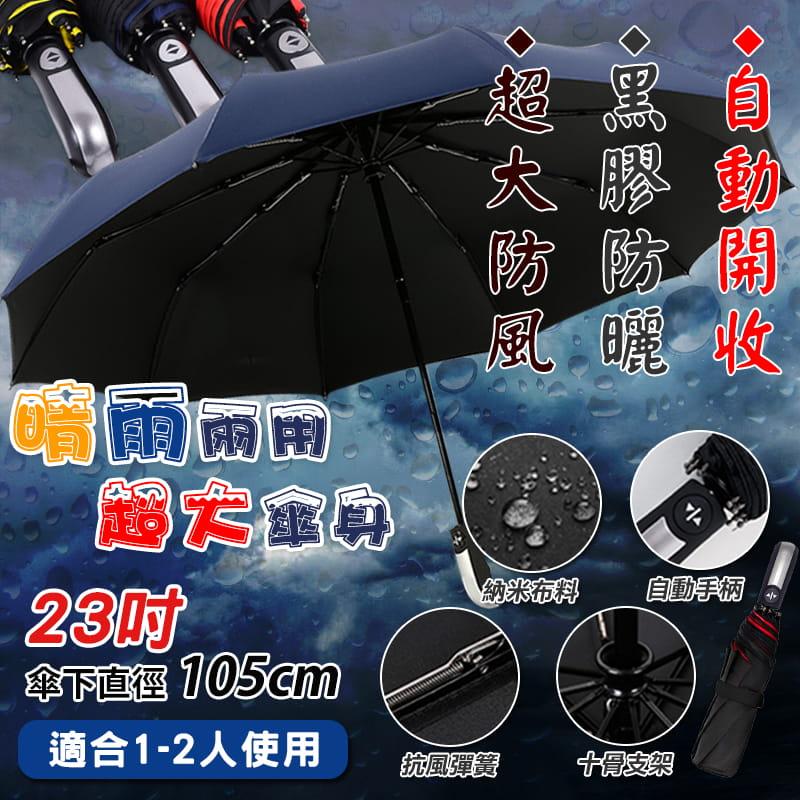 全自動十骨超大防風兩用折疊傘 0