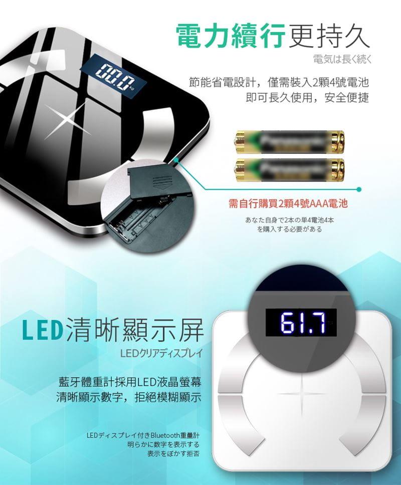 多合一智能LCD智能秤/體重計【玫瑰金/黑色/白色任選】 12