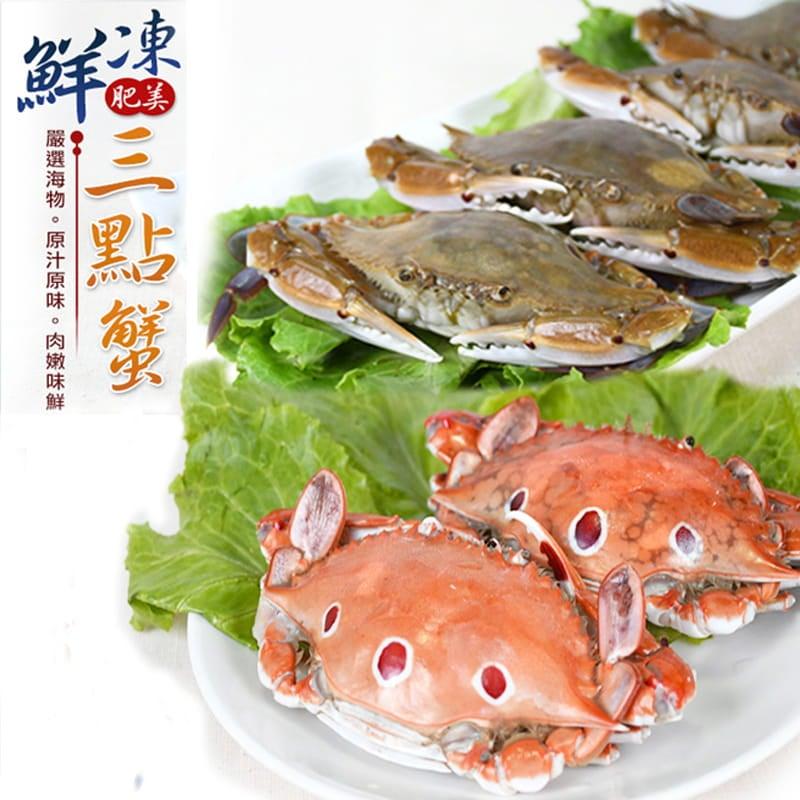 海港現撈活凍肥美三點蟹 (淨重330g+-10%/包) 0