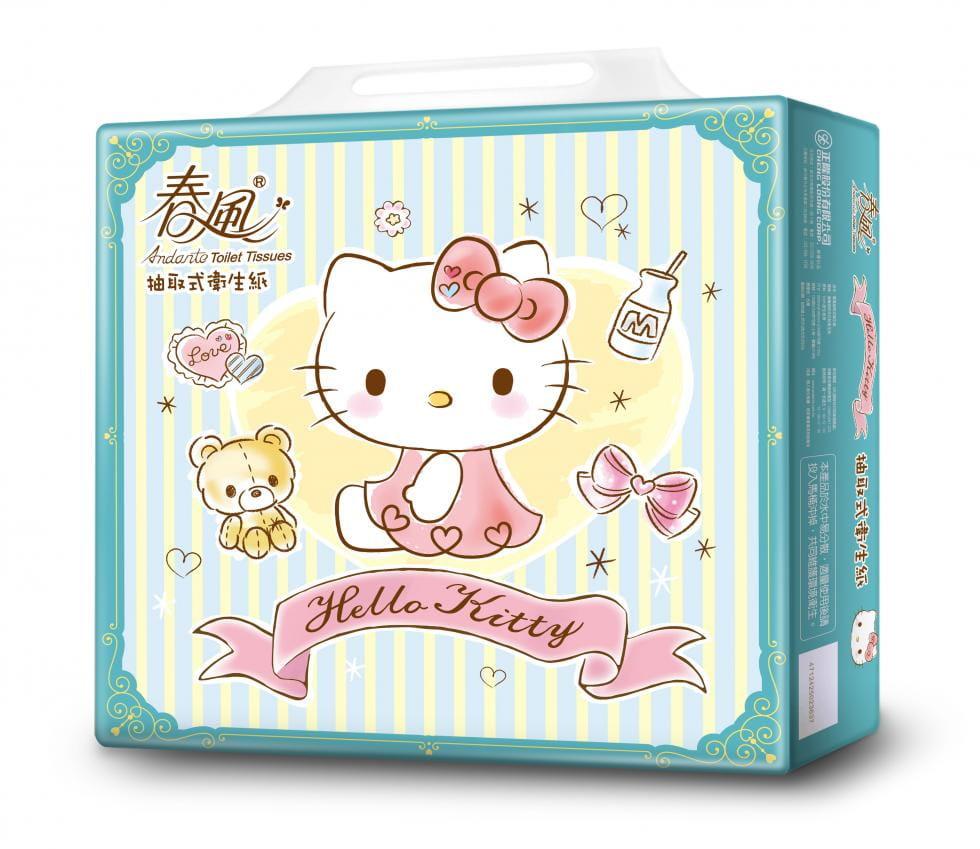 【春風】kitty湖水綠抽取式衛生紙100抽x40包 0